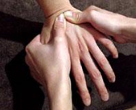手根関節炎の治療の様子