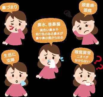 蓄膿症(副鼻腔炎)・鼻づまりの特長と症状